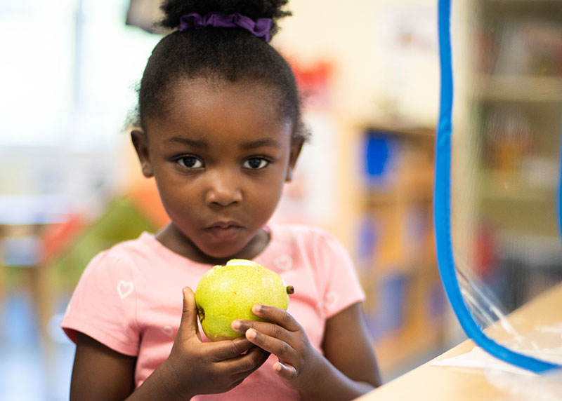 Toddler Black girl eating an apple, very serious face
